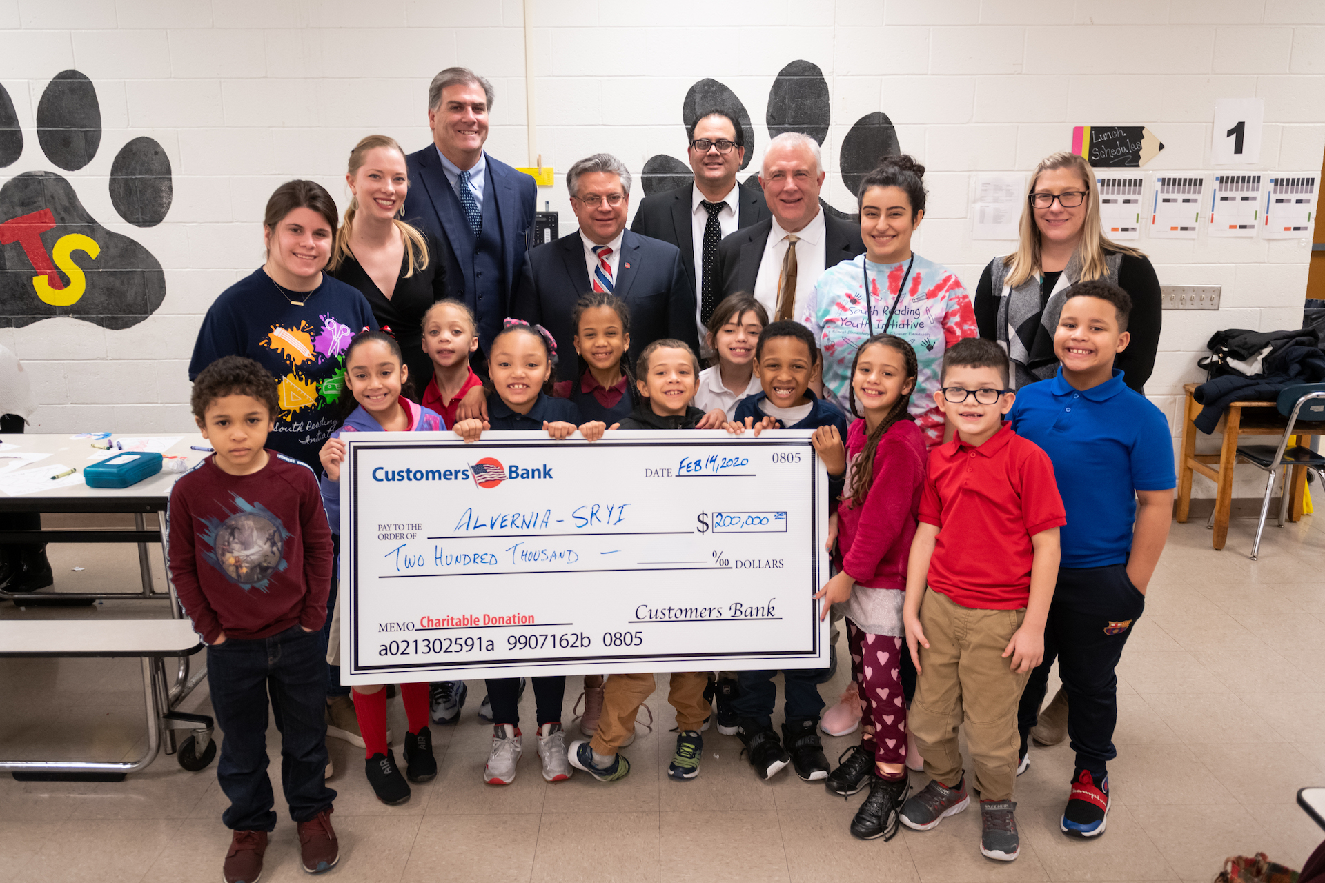 Customers Bank Check Presentation South Reading Youth Initiative Tyson Schoener Elementary