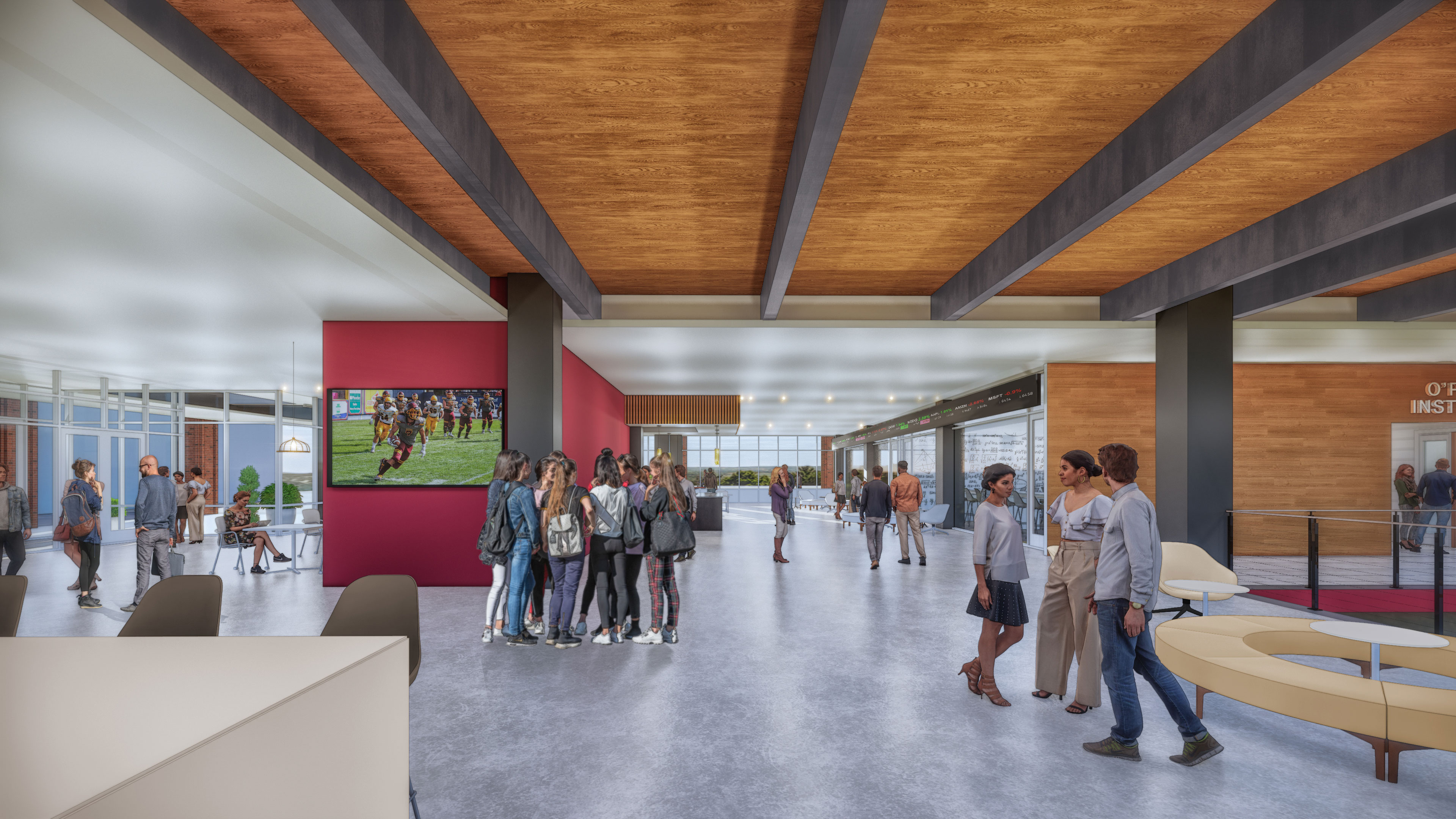Rendering of the first-floor lobby at Alvernia's downtown Reading location at 401 Penn Street
