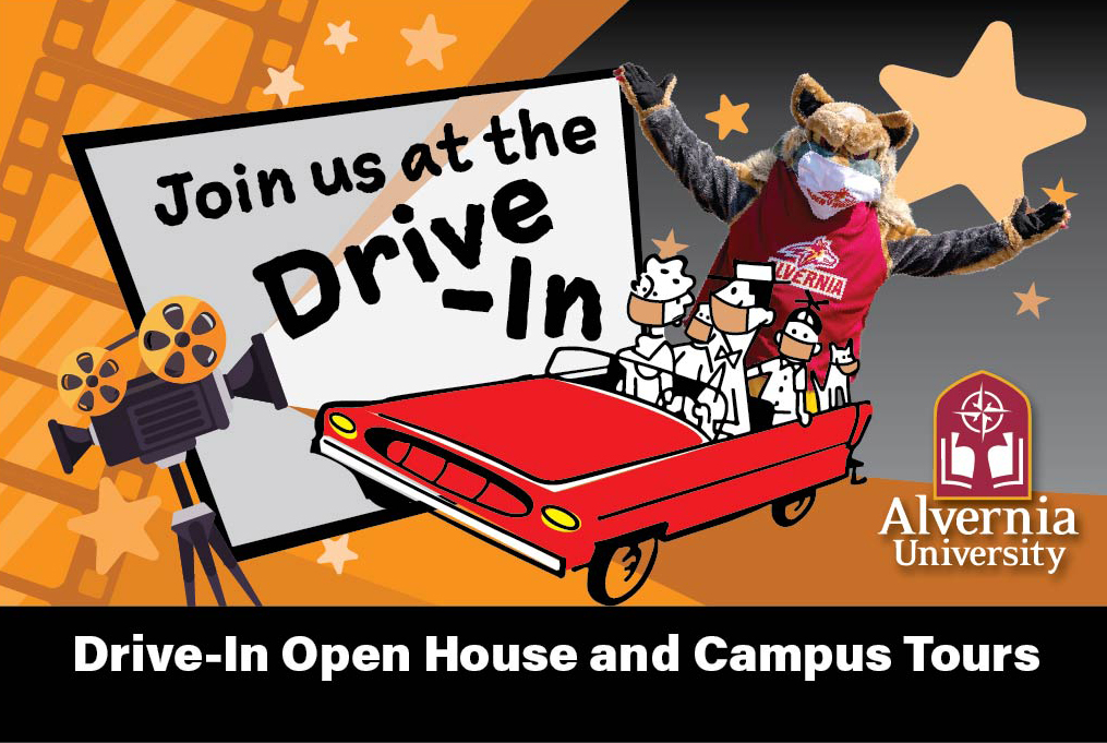 Drive In Open House with Golden Wolf in Car