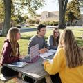 Students studying together at a picnic table
