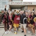 Bill Stiles with Mascot & Cheer Team - Homecoming 2017