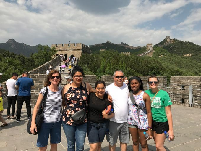 Students and faculty at the Great Wall of China