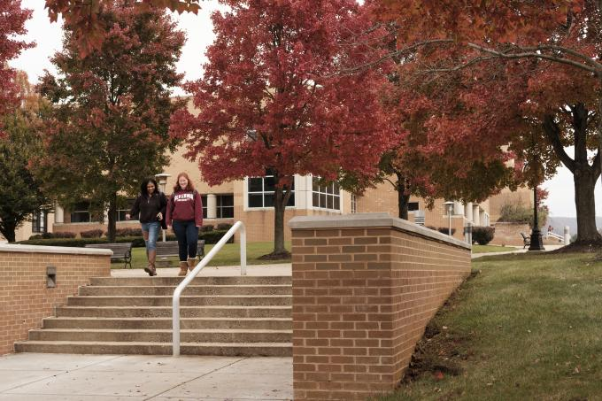 Students walking to class in the fall