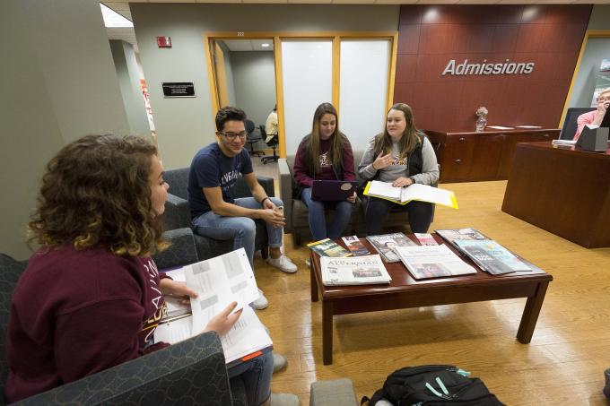 Students in Undergraduate Admissions Office