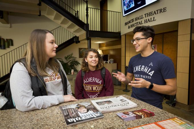 Students in the Welcome Center