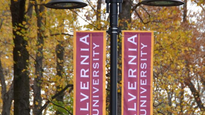 Alvernia banners on lightpoles