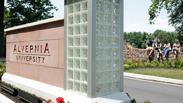 Alvernia University entrance sign at Angelica Park