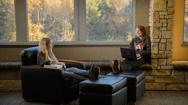 Students in a residence hall lounge