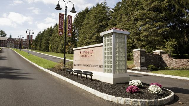 Alvernia University sign at main entrance