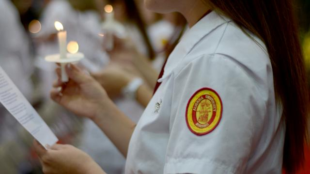 Nursing student with Alvernia patch