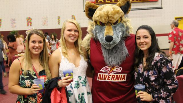 Students at MargritaVern with Mascot