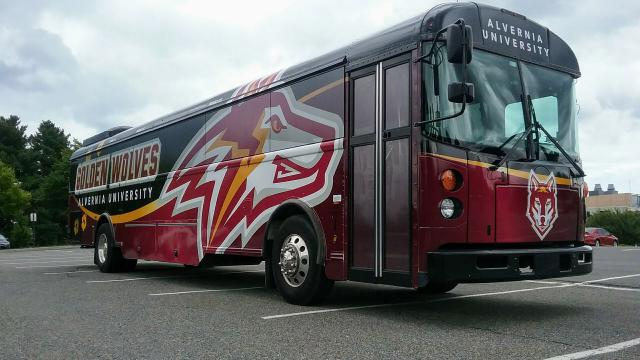 Bus with Golden Wolves artwork