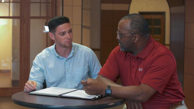 Tim Bailey, MBA student, collaborates with Rodney Ridley of O'Pake Institute.